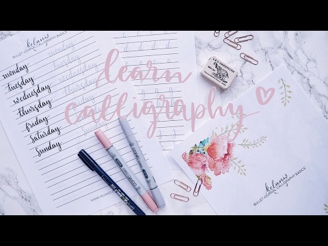 Learn Calligraphy Brush Lettering for your Bullet Journal - Tutorial with Free Practice Sheets