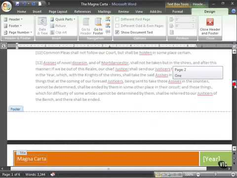 Microsoft Word 2007 ENG TB 06 06 Working with Footers