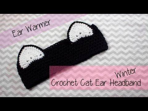 👒 ✂✂ Cat Ear Winter Ear warmer headband Crochet tutorial  ✂✂👒
