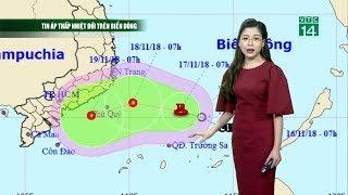 Thời tiết 12h 17/11/2018: Áp thấp đang tiến vào các tỉnh từ Ninh Thuận đến Bà Rịa-Vũng Tàu   VTC14