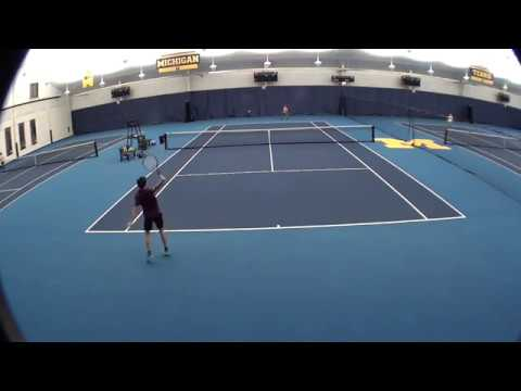 Andrei playing a great match at a UTR tournament at University of Michigan - Nov 2017