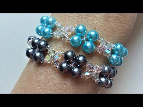 How to make a beautiful and easy pearl bracelet with crystal beads (beginners project)
