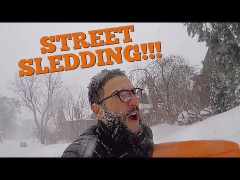 SLEDDING DOWN THE STREET AFTER SNOWFALL!!!