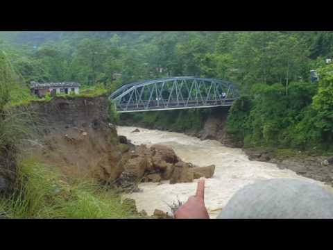 Landsliding in pokhara nepal,पहिरो ले दोबिल्ला को पुल नै खतरा मा