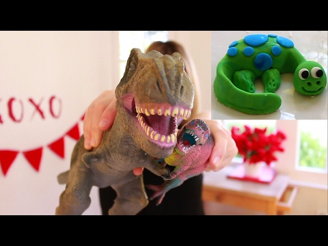 How to Make dinosaurs for kids using Fondant - How to make dino cake toppers