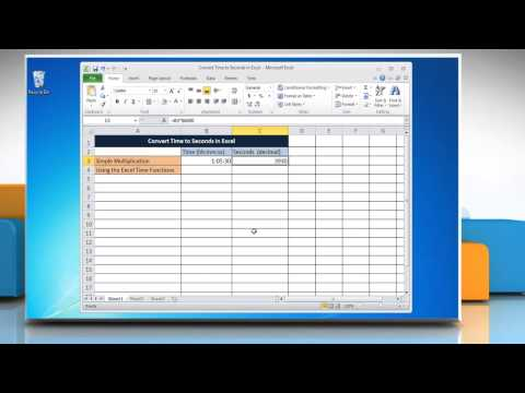 How to Convert Time to Seconds in Excel Microsoft® Excel 2010