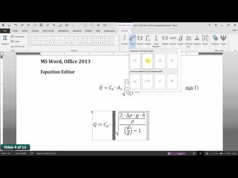 MS Word 2013 Equation Editor