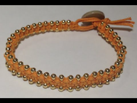 DIY Square Knot Bracelet with Gold Beads