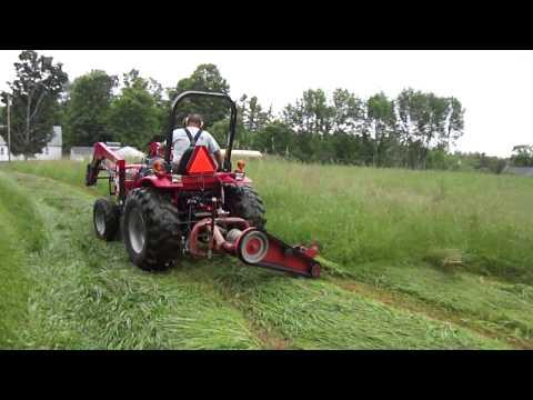 Mahindra Tractor  Mowing 1st Cut Hay 2013