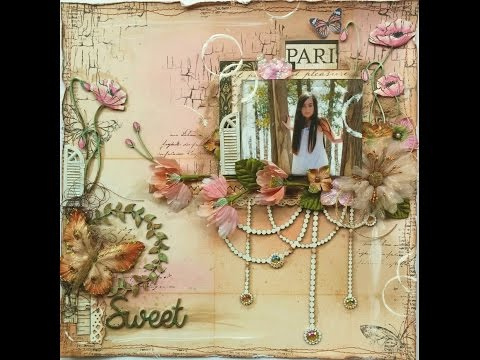 Mixed Media Scrapbook Page Tutorial   Sweet