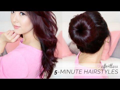 TUTORIAL: Effortless '5 Minute' Hair Styles! Soft Curls + Big Bun