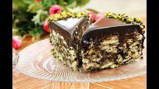 حلويات باردة بدون فرن كيكة الشوكولاتة السريعة كيكة البسكويت السهلة مع رباح محمد ( الحلقة 521 )