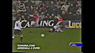 Bergkamp red card & Carragher throws a coin at arsenal fans