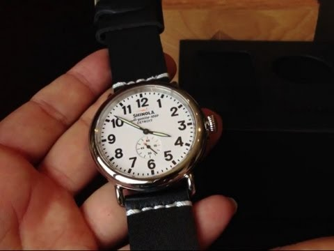 Unboxing and replacing the leather watch band on the Detroit built Shinola Runwell 47mm watch