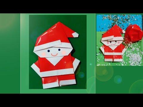 Paper Santa Claus - easy and rich. Papai Noel de Origami. Pop-up card