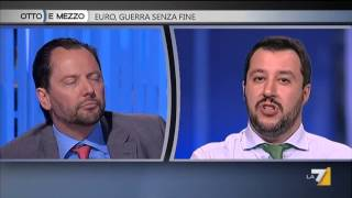 """Otto e Mezzo 28 Aprile ospiti: Salvini, Zingales e Pittella """"Euro o no Euro?"""" 1/2"""