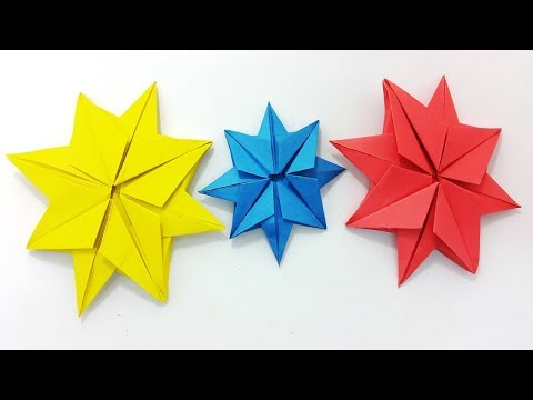 Origami Christmas Star Easy Instructions | Christmas Decoration Ideas - Origami 8 Pointed Star