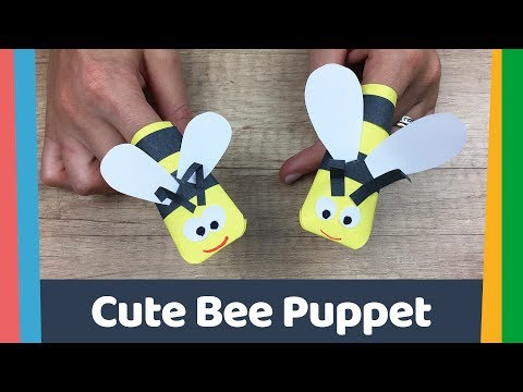 Simple DIY for kids paper Bee puppet
