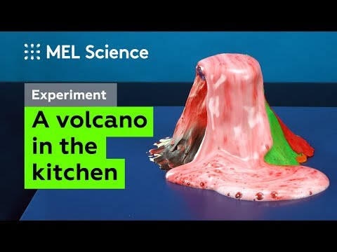 Simple experiment: A foaming volcano from baking soda and vinegar