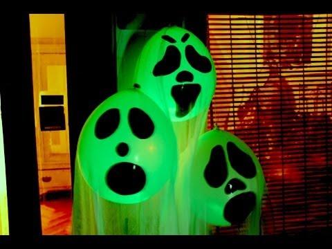 DIY Halloween Ghost Glow Balloons  - Yard Decorations! Indoor Halloween Decorations 2017