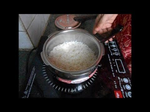 Making rice directly in 1.5L VINOD Pressure cooker on Induction cooktop