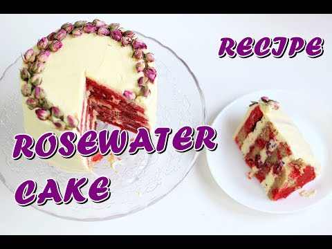 HOW TO MAKE PINK MARBLED ROSEWATER CAKE WITH CREAM CHEESE FROSTING