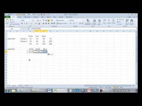 Computing chi square in Excel