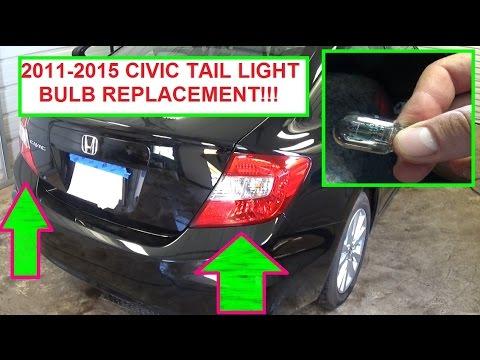 Honda Civic Tail Light Brake Light Rear Turn Signal Light Bulb Replacement! 2011 2012 2013 2014 2015