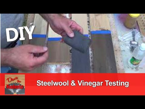 The effects of Steelwool and Vinegar on various woods