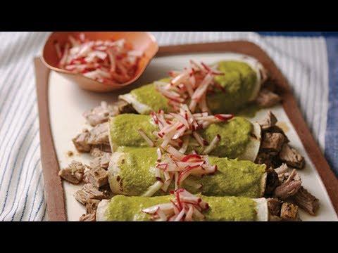 Pati Jinich - Pork Tenderloin Enchiladas in Mole Verde