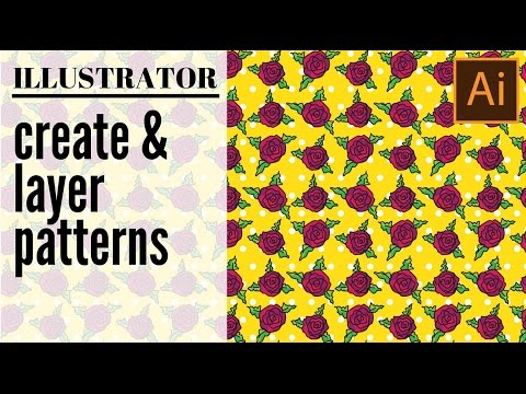 Layer multiple patterns in Illustrator - create and layer rose and polka dot patterns