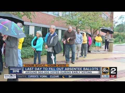 Absentee ballot deadline ends Friday, Marylanders show up for early voting