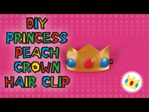 DIY  Princess Peach Crown Hair Clip : Make your own cute super mario cosplay hair clip