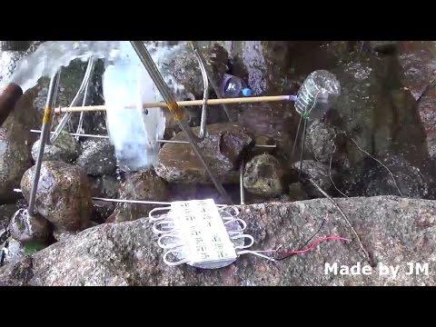 Plastic bottle water wheel generator experiment