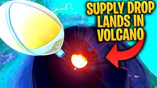 What Happens When A SUPPLY DROP Lands In The VOLCANO? | Fortnite SEASON 8 Mythbusters