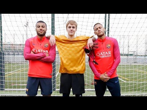 Justin Bieber visits FC Barcelona training session