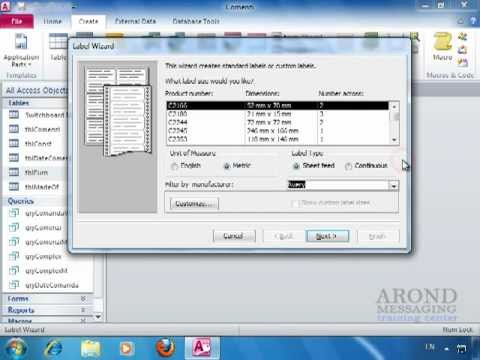 Using Access 2010 - Create Labels