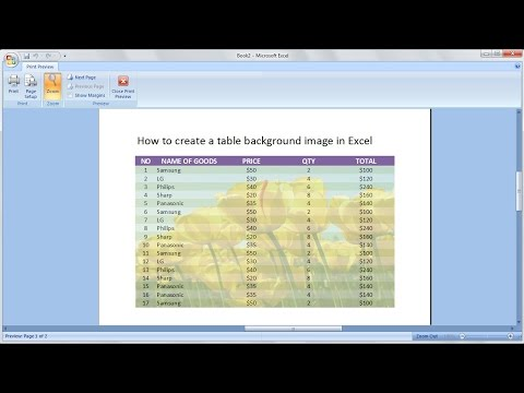 Microsoft excel training |How to create a table with a background picture in excel