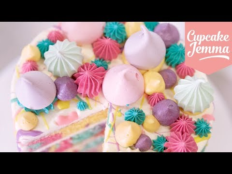 Rainbow Pastel Marble Splat Cake! | Cupcake Jemma