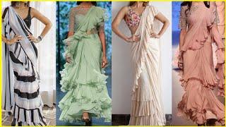 Frill/ruffle Saree Design Collection designer Saree Pattern And Design latest Party Wear Saree