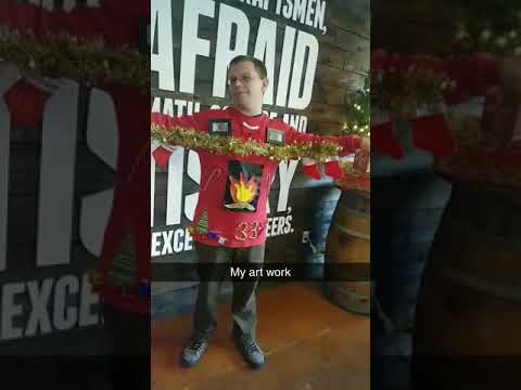 Ugly Xmas sweater fireplace
