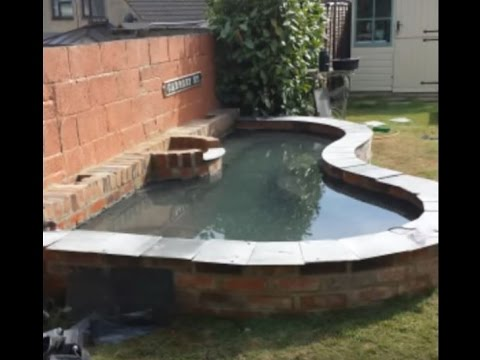How to build a raised brick fish Koi Carp garden pond with built pump filters water feature & plants