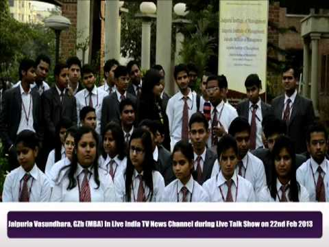 Jaipuria Vasundhara Ghaziabad (MBA) in LIVE INDIA TV News Channel