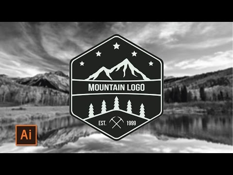 Illustrator Tutorial - Mountain Adventure Logo (How to make a logo)