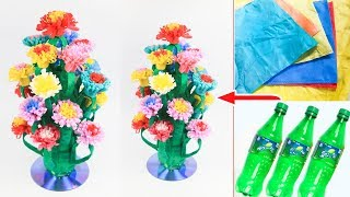 By Sb Crafts How To Make A Flower Vase With Plastic Bottle And Shopping Bag