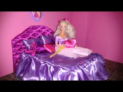 DIY - Miniature Dollhouse - How to make a Barbie doll bed