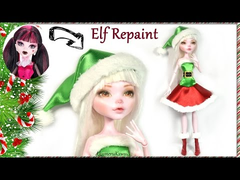 Cute Christmas Elf Doll - Monster High Draculaura Repaint