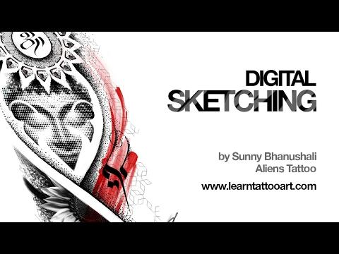 Digital Sketching - Buddha Tattoo Design - Time Lapse
