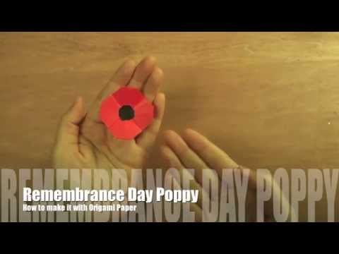 How to make Remembrance Day Poppy with Origami Paper   リメンバランスデーのポピー 作り方(カナダの祝日用)
