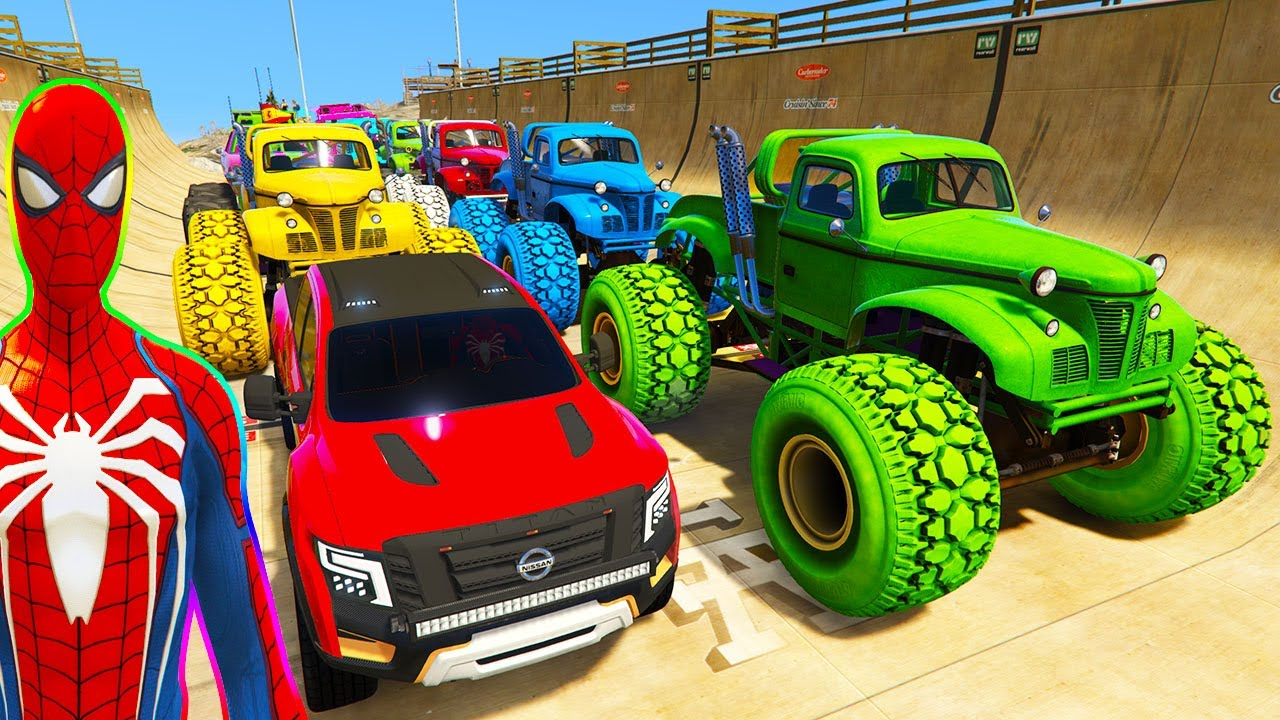 SPIDERMAN CARS Monster Trucks Mega Rampa Challenge ! SUPERHERO HULK Iron Man Goku Racing - GTA V